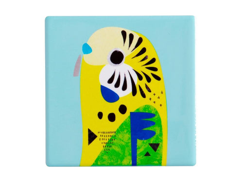 MW PETE CROMER CERAMIC SQUARE TILE COASTER 9.5CM BUDGERIGAR