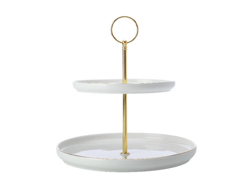 MAXWELL & WILLIAMS ORO 2 TIERED CAKE STAND GIFT BOXED WHITE - ZoeKitchen
