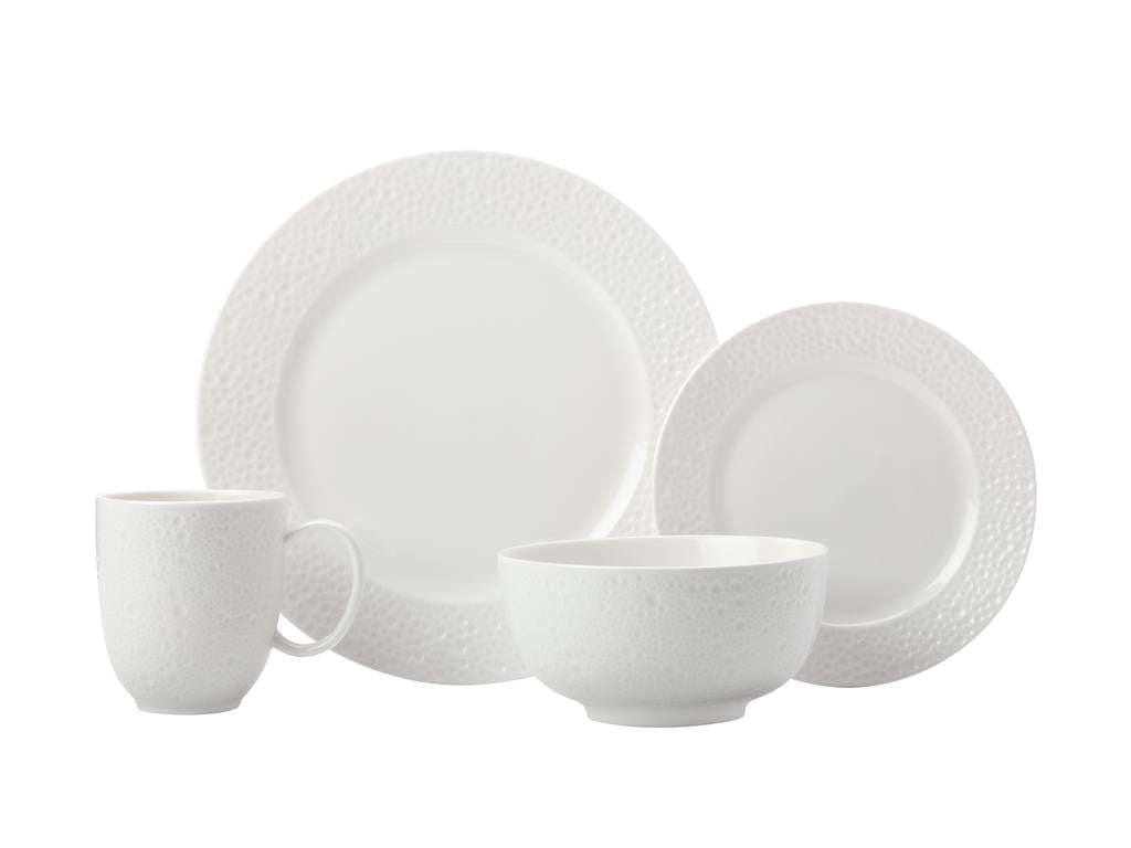Maxwell & Williams Mantra Rim Dinner Set 16pc White Gift Boxed - ZoeKitchen