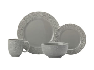 Maxwell & Williams Mantra Rim Dinner Set 16pc Grey Gift Boxed - ZoeKitchen