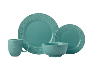 Maxwell & Williams Mantra Rim Dinner Set 16pc Turquoise Gift Boxed - ZOES Kitchen