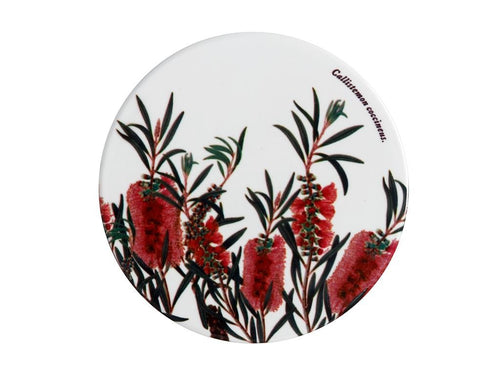 Maxwell & Williams Royal Botanic Garden Ceramic Round Coaster 9.5cm Bottlebrush - ZoeKitchen