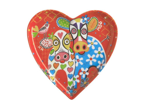 maxwell & williams love hearts heart plate 15.5cm happy moo day gift boxed - ZoeKitchen