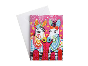 MW LOVE HEARTS GREETING CARD ZIG ZAG ZEBRAS