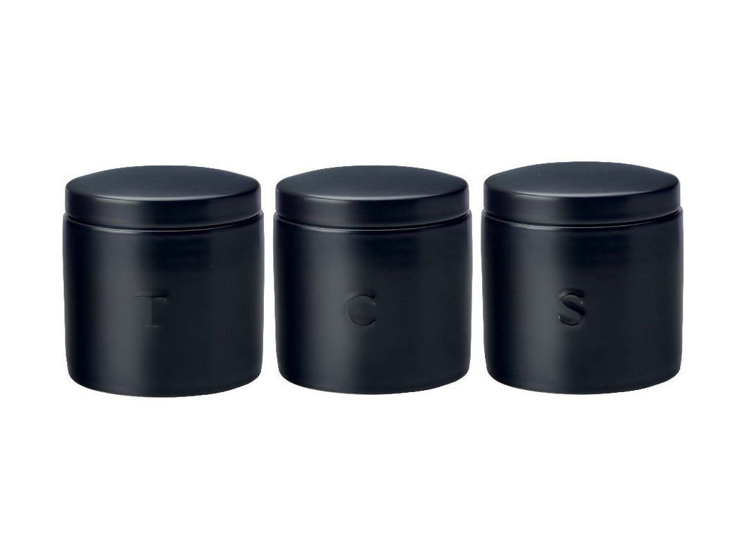 Maxwell & Williams Epicurious Canister 600ml Set Of 3 Black Gift Boxed - ZoeKitchen