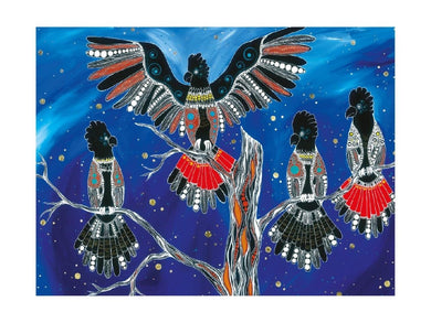 Maxwell & Williams Melanie Hava Jugaig-Bana-Wabu Tea Towel 50x70cm Black Cockatoos - ZOES Kitchen