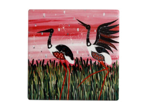 Maxwell & Williams Melanie Hava Jugaig-Bana-Wabu Ceramic Square Coaster 10cm Jabirus Pink - ZOES Kitchen