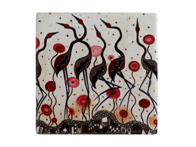 Maxwell & Williams Melanie Hava Jugaig-Bana-Wabu Ceramic Square Coaster 10cm Brolgas - ZOES Kitchen