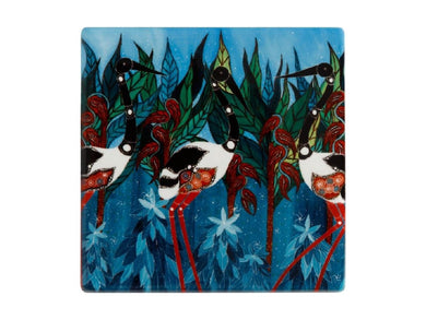 Maxwell & Williams Melanie Hava Jugaig-Bana-Wabu Ceramic Square Coaster 10cm Jabirus Blue - ZOES Kitchen