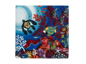 Maxwell & Williams Melanie Hava Jugaig-Bana-Wabu Ceramic Square Coaster 10cm Reef Wonderland - ZOES Kitchen