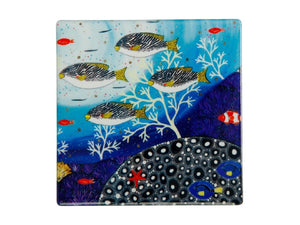 Maxwell & Williams Melanie Hava Jugaig-Bana-Wabu Ceramic Square Coaster 10cm Goldman Sweetlips - ZOES Kitchen