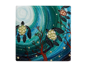 Maxwell & Williams Melanie Hava Jugaig-Bana-Wabu Ceramic Square Coaster 10cm Turtles - ZOES Kitchen