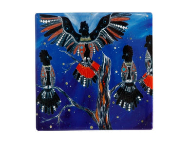 Maxwell & Williams Melanie Hava Jugaig-Bana-Wabu Ceramic Square Coaster 10cm Black Cockatoos - ZOES Kitchen
