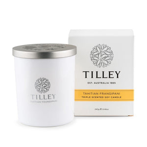Tilley Classic White - Soy Candle 240g - Tahitian Frangipani - ZoeKitchen