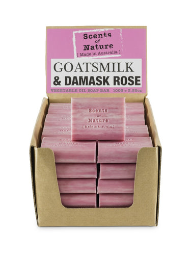 TILLEY SCENTS OF NATURE - SOAP BARS 100G - DAMASK ROSE & GOATS MILK