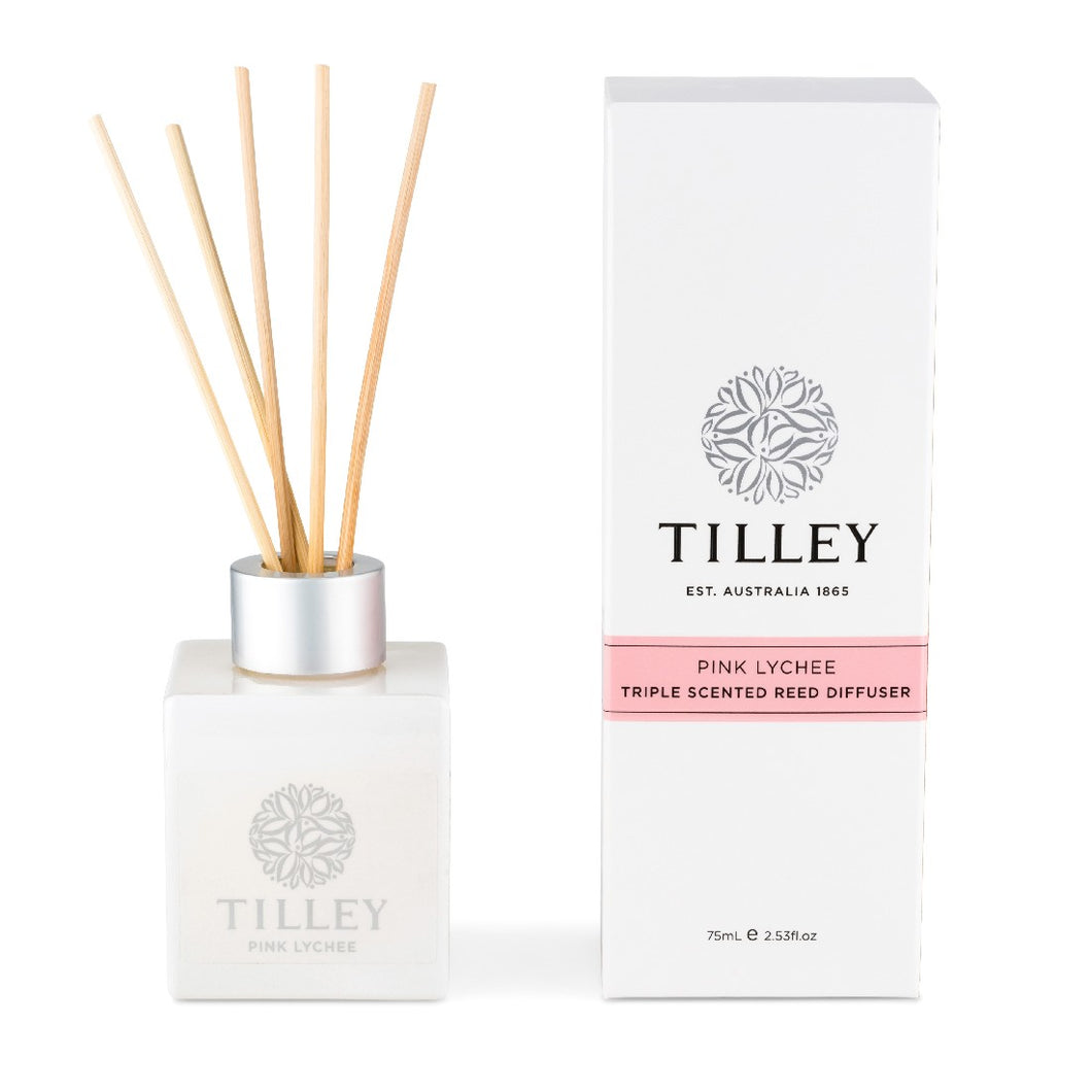 Tilley Classic White - Reed Diffuser 75ml - Pink Lychee - ZoeKitchen