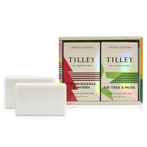 Tilley Classic White - soap 2pk - frankincense & Myrrh and Fir Tree & Musk - ZoeKitchen