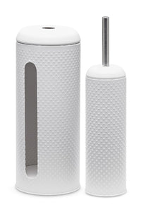 Salt&Pepper spot toilet brush & roll holder set
