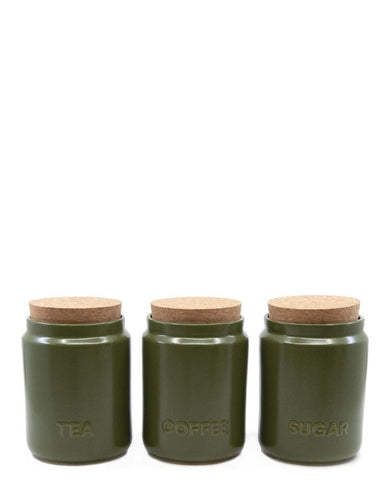 Salt&Pepper Strand Canister Olive 10x13cm S/3 - ZoeKitchen