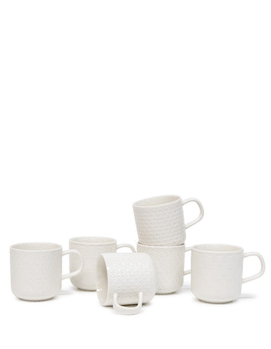 s&p embossed mug 300ml set of 6 - ZoeKitchen