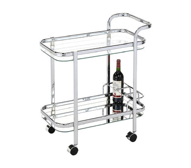 Swing Lounge Bar Cart W/ Bottle Holder - Silver Mirror - ZOES Kitchen