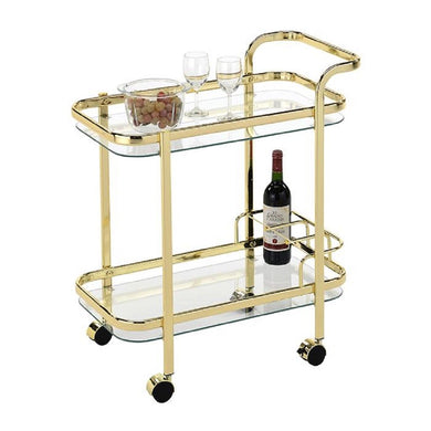 Swing Piaf Bar Cart W/ Bottle Holder - Gold - ZOES Kitchen