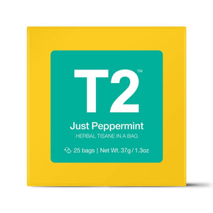 T2 Teabags - Just Peppermint Bio Tbag 25pk Y/B - ZoeKitchen