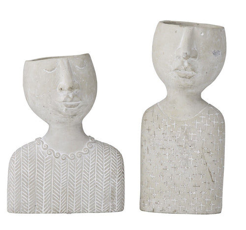 ROGUE EMILIE & EMILE SET OF 2 PLANTER HEADS - GREY 28&33CM - ZoeKitchen