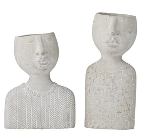 Rogue Emilie & Emile Set Of 2 Planter Heads - Grey 28&33cm - ZOES Kitchen
