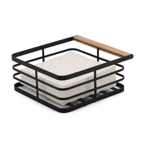 Classica Nero Mesh Napkin Holder With Timber End - ZOES Kitchen