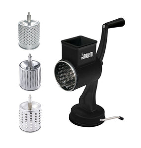 Classica Matte Black 3 Drum Stainless Steel Grater with Suction Base