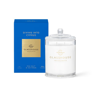GLASSHOUSE FRAGRANCE - 380G CANDLE - DIVING INTO CYPRUS - ZoeKitchen