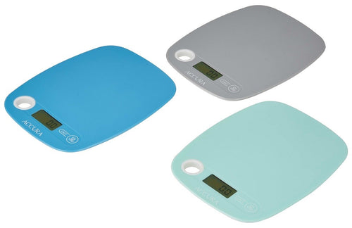 ACCURA GAIA ELECTRONIC KITCHEN SCALE 5KG/1G ASS COLOURS