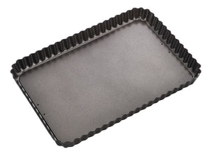 MASTER PRO N/S FLUTED RECT FLAN/QUICHE TIN 32X22CM