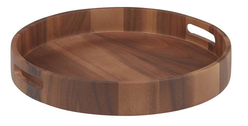 D&W Acacia Wood Serving Tray Round - ZOES Kitchen