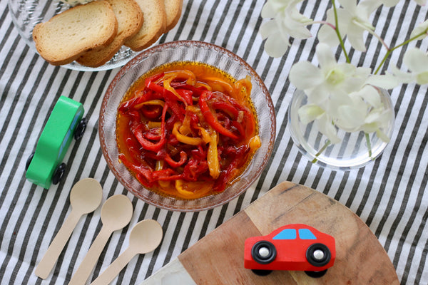 red peppers with toast for playdates