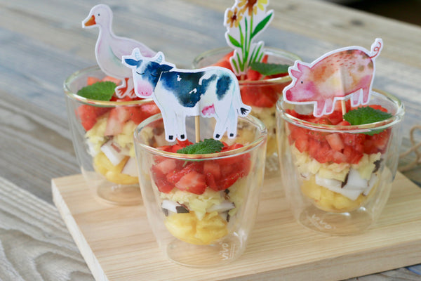 Layer Fruit Salad for Kids with Animal Toppers