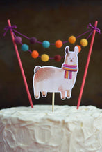 Load image into Gallery viewer, Llama and Pom Pom Mini Garlan Cake topper on top a birthday cake