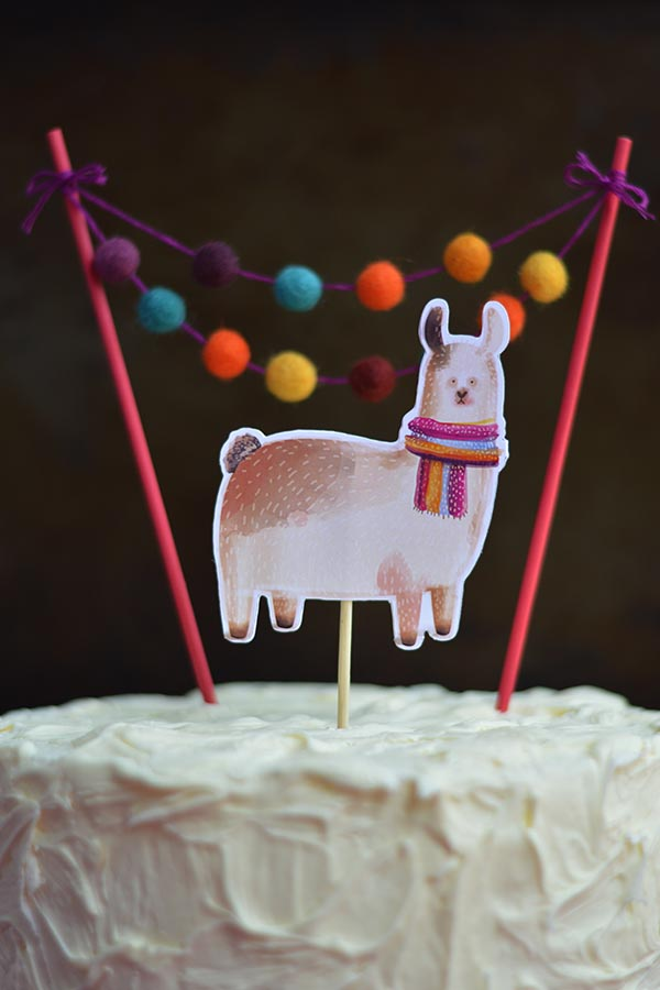 Llama and Pom Pom Mini Garlan Cake topper on top a birthday cake