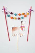 Load image into Gallery viewer, Llama and Mini Garland Pom Pom topper. Pom Pom garland includes purple, blue, yellow, and orange