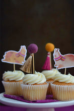 Load image into Gallery viewer, Llamas and Pom Pom Cupcake Topper for Birthday Parties Decoration on Top of Vanilla Cupcakes