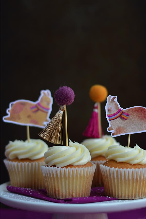 Llamas and Pom Pom Cupcake Topper for Birthday Parties Decoration on Top of Vanilla Cupcakes