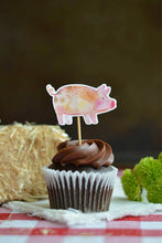 Load image into Gallery viewer, Pig cupcake topper on a chocolate cupcake from our farm party theme