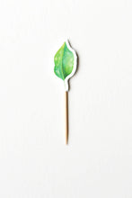Load image into Gallery viewer, Green leaf cupcake topper from wild jungle party theme