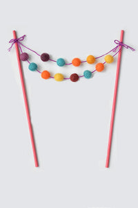 Pom Pom Mini Garland Cake Topper Llama Party Theme