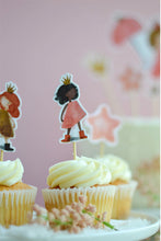 Load image into Gallery viewer, Brunette princess cupcake topper on top of vanilla birthday cupcakes and behind vanilla cake with princess cake toppers