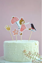 Load image into Gallery viewer, From Princesses Party Theme, Cake Toppers including princess, crown, pink star and bird on a birthday cake
