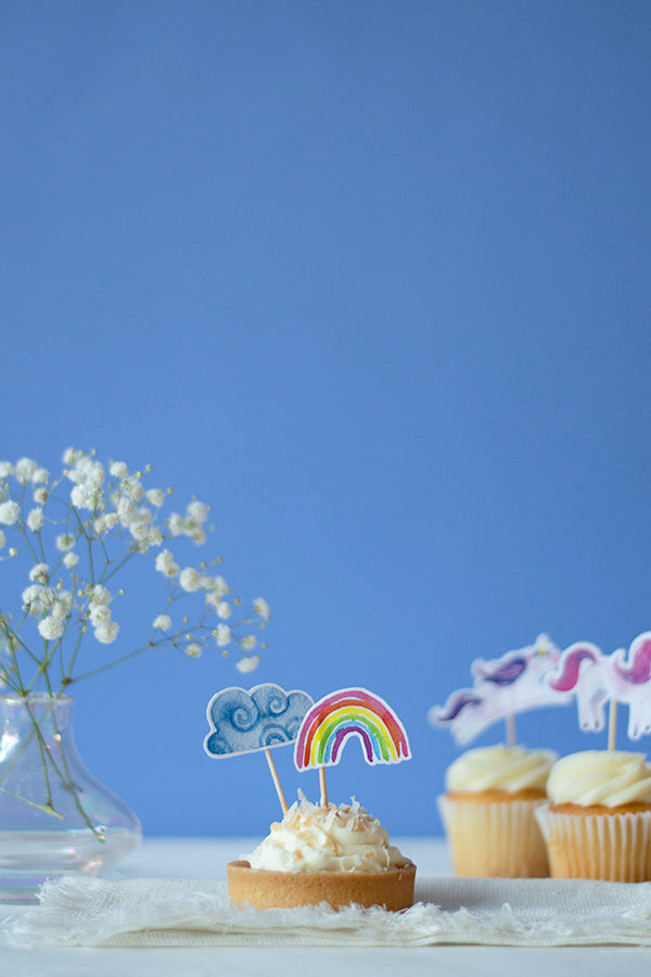 Rainbows and Clouds Cupcake Toppers, Set of 12