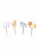 Load image into Gallery viewer, Set of cupcake toppers wild jungle party theme. Includes: elephant, tiger, zebra and lion