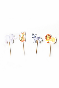 Set of cupcake toppers wild jungle party theme. Includes: elephant, tiger, zebra and lion